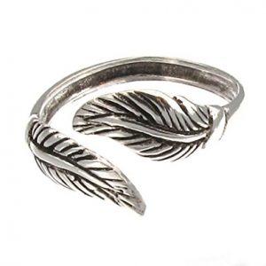 925 Sterling Silver Leaf   Adjustable Toe Ring