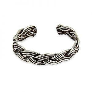 925 Sterling Silver Woven Plait  Adjustable Toe Ring