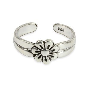 925 Sterling Silver Daisy Flower Adjustable Toe Ring