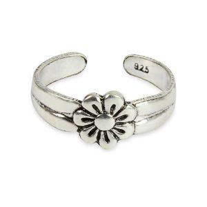 925 Sterling Silver Daisy Flower Adjustable Toe Ring