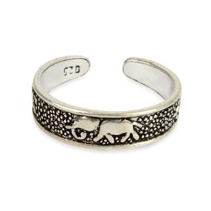 925 Sterling Silver Elephant  Adjustable Toe Ring
