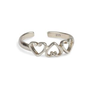 925  Sterling Silver Triple Heart   Adjustable Toe Ring
