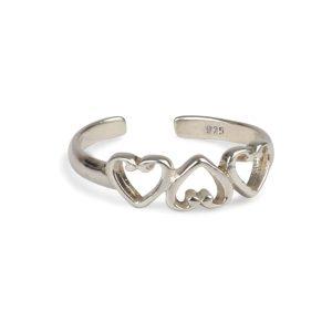 925  Sterling Silver Triple Heart   Adjustable Toe Ring