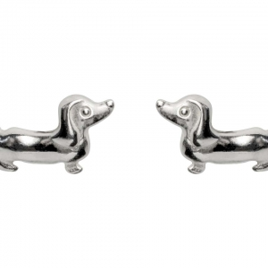 Pair of solid 925 sterling silver dachshund dog ear studs